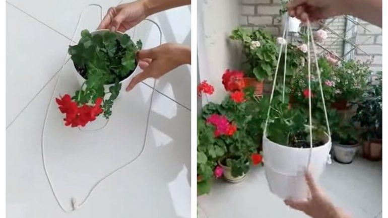 Videopostup: Veľmi jednoduchý závesný kvetináč