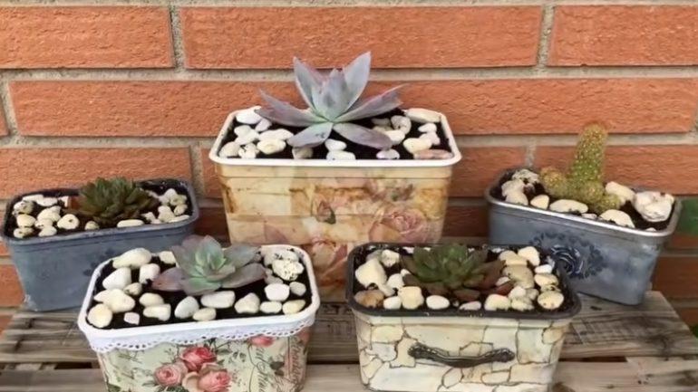 Videopostup, ako vyrobiť nádherné kvetináče z boxov a čajových vreciek