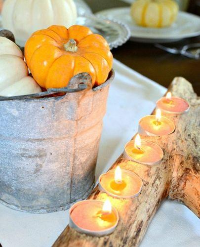 Jesenná dekorácia so svietnikom