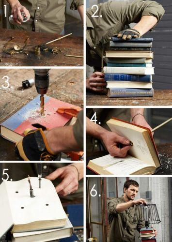 Postup, ako urobiť lampu z kníh