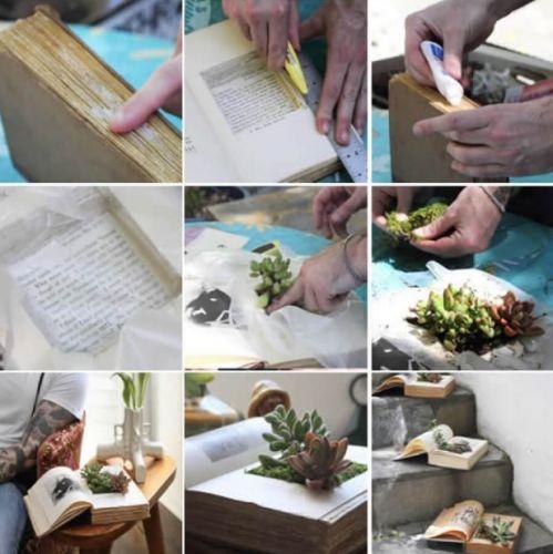 Postup, ako urobiť kvetináč z knihy